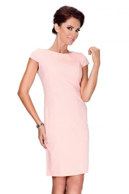 37-1 Elegant dress with short sleeves - peach