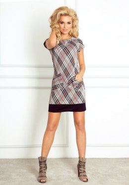 Dress with pockets in red-and-gray checkered 62-1