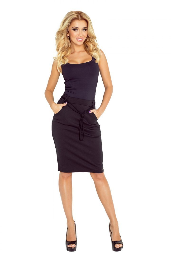 Skirt with pockets and drawstring - black 127-4