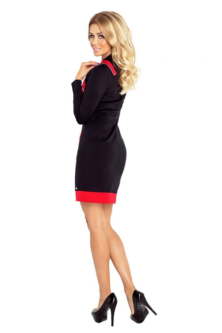 129-4 JUSTYNA dress with three zippers - black + red zippers
