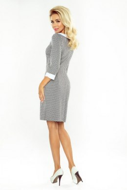 Dress with collar - gray diamonds 111-4