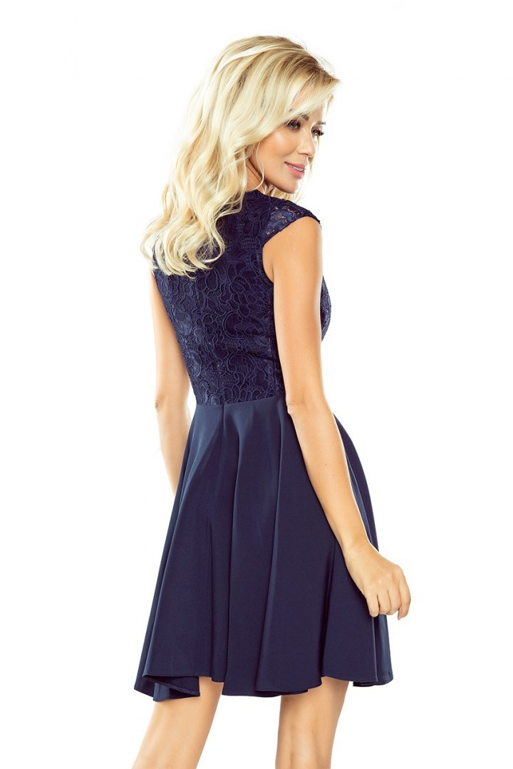 Dress MARTA with lace - navy blue 157-1