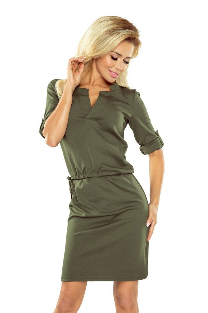 161-2 AGATA - dress with a collar - KHAKI