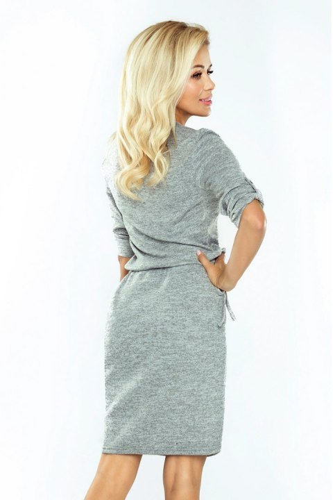161-3 AGATA - dress with a collar - gray