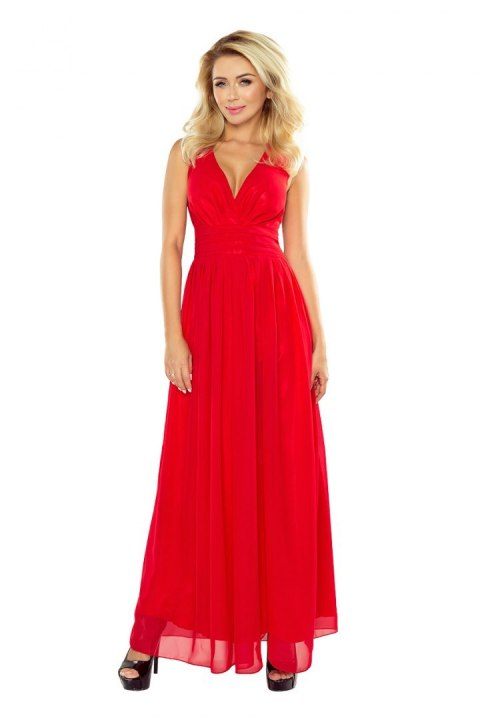 166-2 MAXI chiffon dress - red