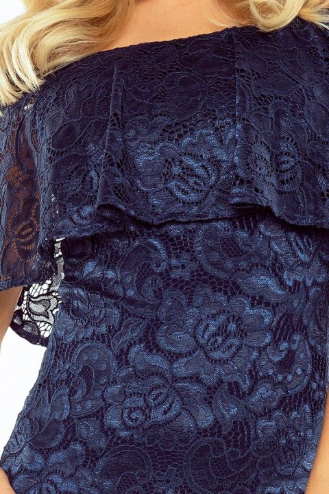 MM 013-4 Dress with frill - lace - navy blue color