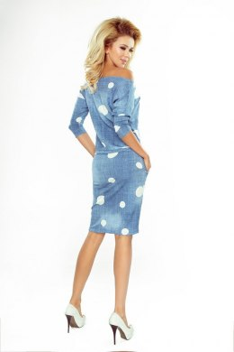 13-74 Sports dress - jeans in white polka dots
