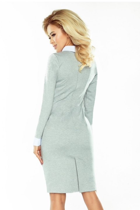143-4 Dress with a white collar - gray