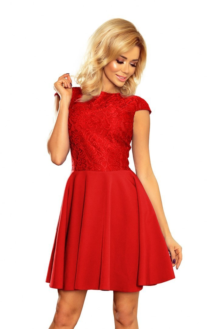 157-8 Dress MARTA with lace - red