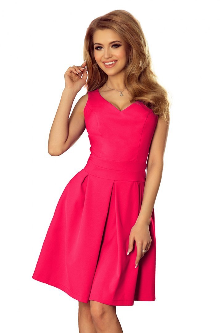 160-6 Dress with neckline and pockets - Pink