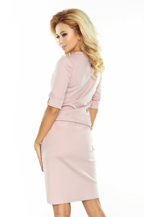 161-5 AGATA - dress with a collar - pastel pink