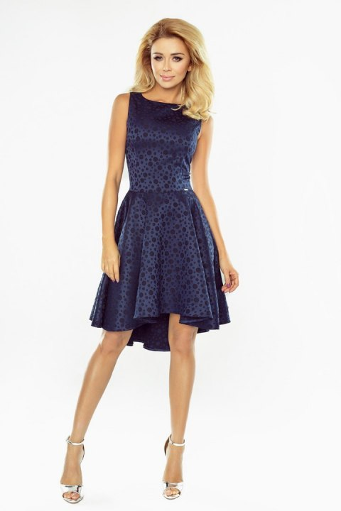 Exclusive dress with longer back - Navy blue 175-3