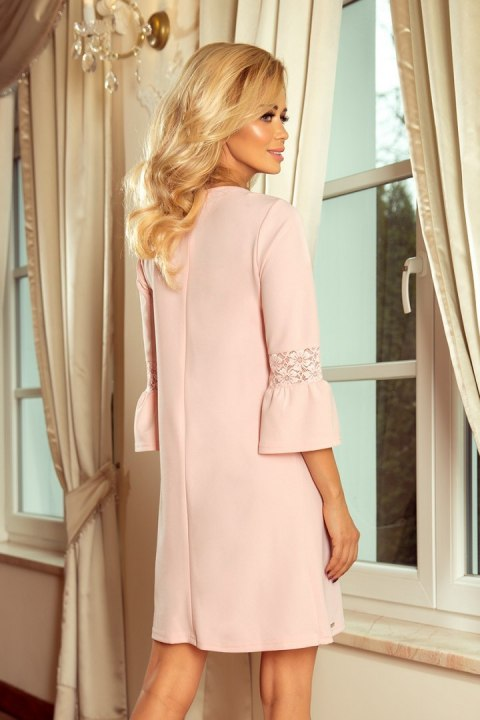 190-1 MARGARET dress with lace on the sleeves - pastel pink