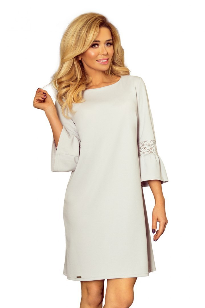 190-2 MARGARET dress with lace on the sleeves - light grey