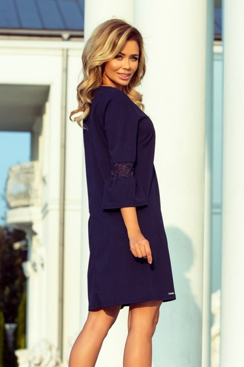 190-6 MARGARET dress with lace on the sleeves - Navy Blue