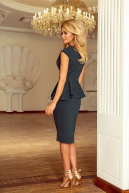 192-1 Elegant midi dress with frill - green