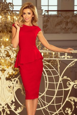 192-5 Elegant midi dress with frill - RED