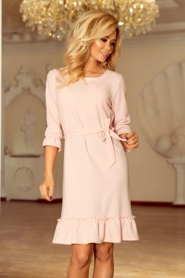 193-2 MAYA Dress with flounces and belt - pastel pink