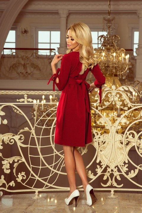 195-3 ALICE Dress with bows - Burgundy color