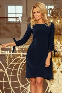 195-5 ALICE Dress with bows - navy blue