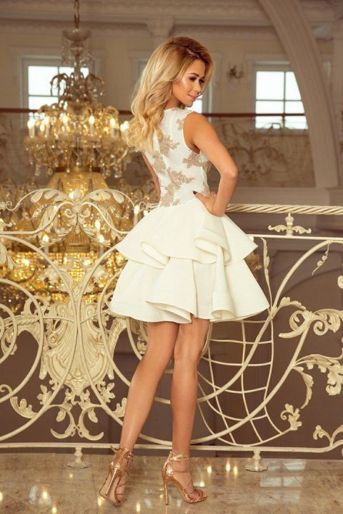 200-1 CHARLOTTE - Exclusive dress with lace neckline - gold / beige + ecru