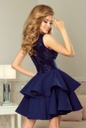 200-2 CHARLOTTE - Exclusive dress with lace neckline - NAVY BLUE
