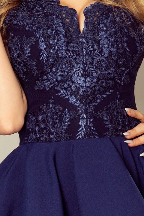 47eb4cd087 200-2 CHARLOTTE - Exclusive dress with lace neckline - NAVY BLUE