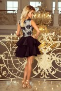 200-3 CHARLOTTE - Exclusive dress with lace neckline - black