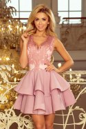 200-5 CHARLOTTE - Exclusive dress with lace neckline - pastel pink