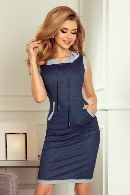 202-3 Dress with pocket and hood - kangaroo - jeans - navy blue