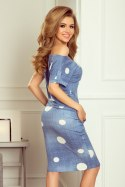 203-2 Sports dress with short sleeves, button and flap - jeans + white polka dots