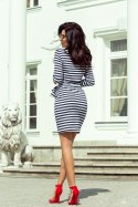 209-1 Dress with a wide tied belt - navy blue stripes