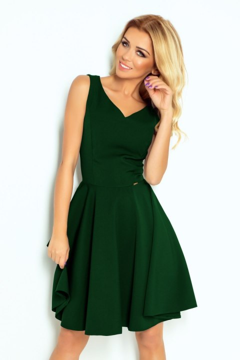 114-10 Flared dress - heart-shaped neckline - dark green