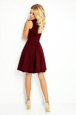 114-11 Flared dress - heart-shaped neckline - Burgundy color
