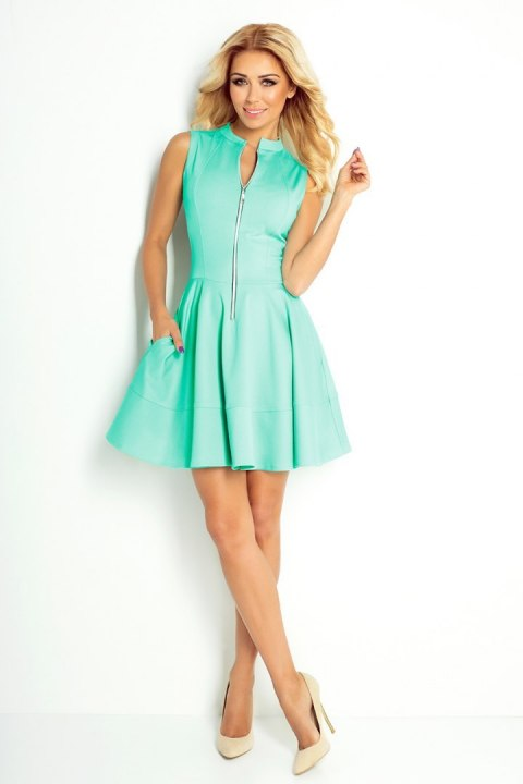 123-15 Dress with a zip at the front and pockets - a blue lagoon