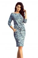 13-87 Sporty dress - blue leaves
