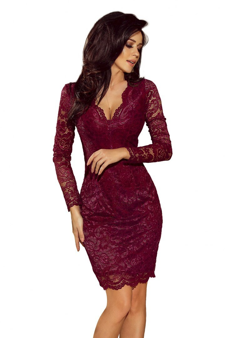 170-5 Lace dress with neckline - Burgundy color