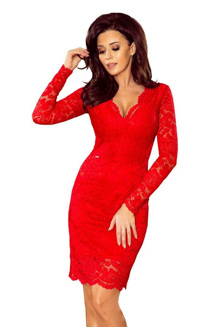 170-6 Lace dress with neckline - Red