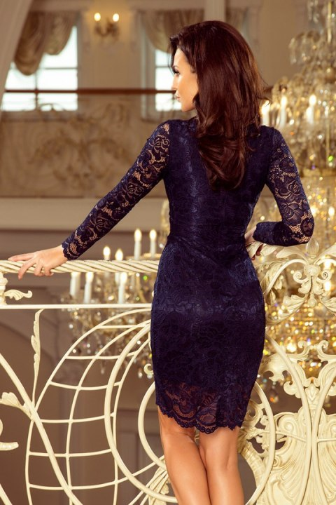 170-7 Lace dress with neckline - navy blue