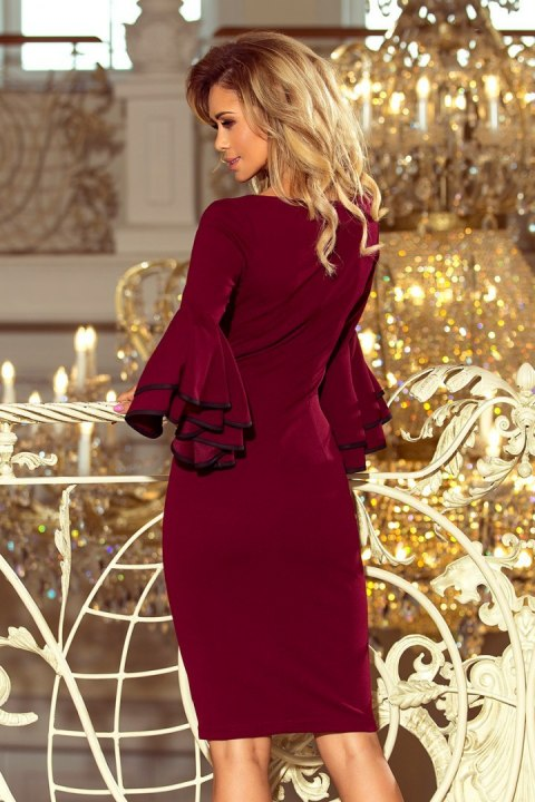 188-3 CARMEN Dress with Spanish sleeves - Burgundy color
