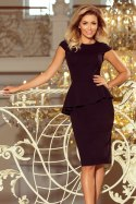 192-3 Elegant midi dress with frill - black