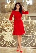 193-6 MAYA Dress with flounces and belt - red