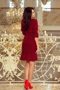 193-7 MAYA Dress with flounces and belt - Burgundy color