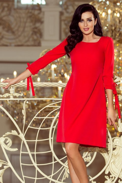 195-4 ALICE Dress with bows - Red