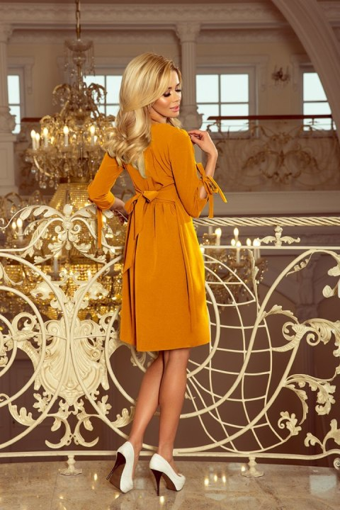 195-6 ALICE Dress with bows - mustard color
