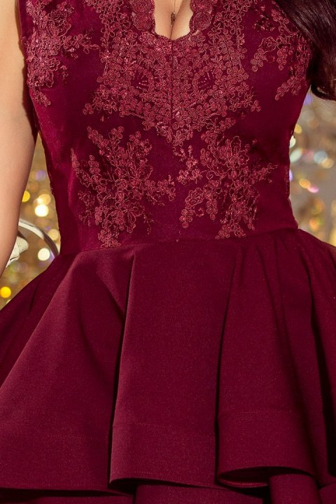 200-8 CHARLOTTE - Exclusive dress with lace neckline - Burgundy color