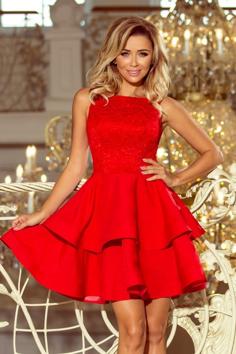 205-1 LAURA flared dress with lace - red