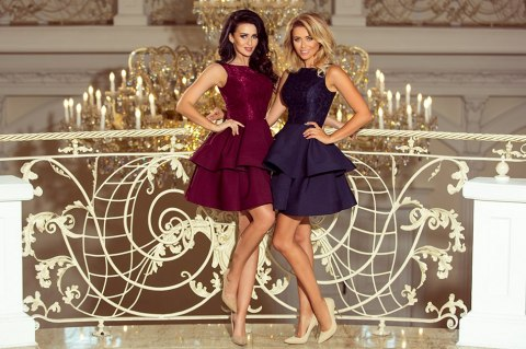 205-3 LAURA flared dress with lace - navy blue