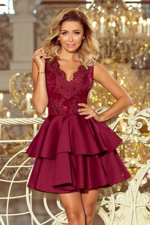 207-1 ALEXIS - Exclusive dress with lace neckline - Burgundy color