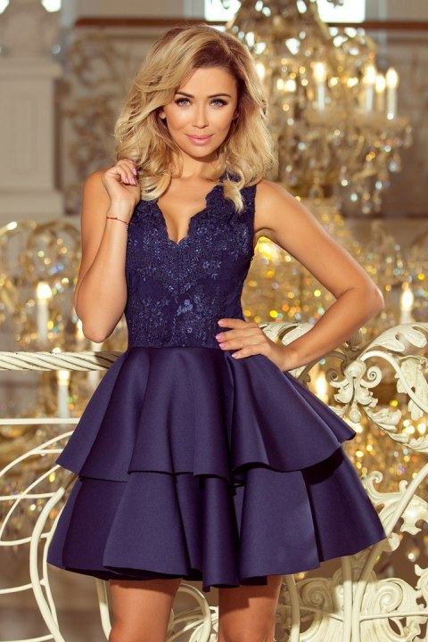 207-2 ALEXIS - Exclusive dress with lace neckline - NAVY BLUE